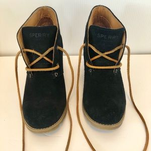 Women's Sperry Ankle Black Boots With heel